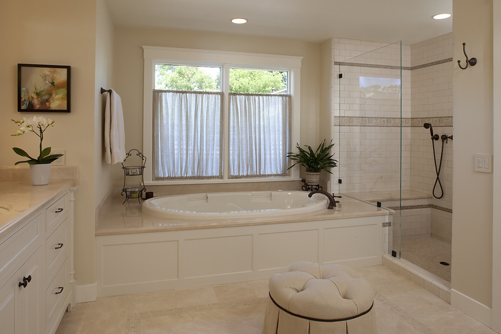 Bathtub Sizes Bathroom Traditional with Accent Tile Deck Mounted Faucet Glass Shower