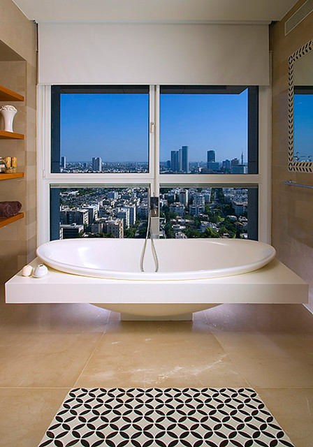 Bathtub Surround Bathroom Contemporary with Freestanding Bathtub Neutral Colors Open Shelving Roller Blinds Stone