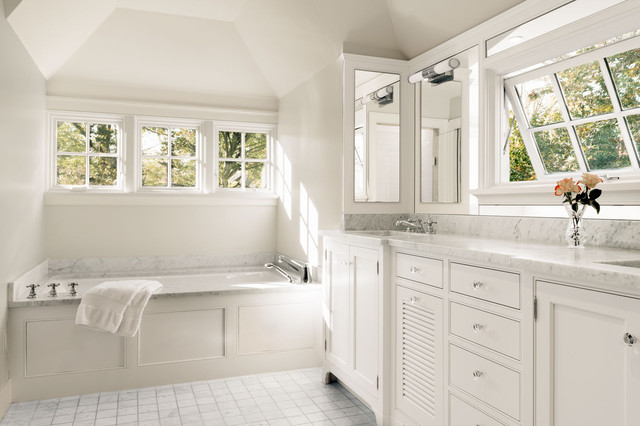 bathtub surround Bathroom Traditional with awning window bathroom mirrors louvered door Marble Countertop marble
