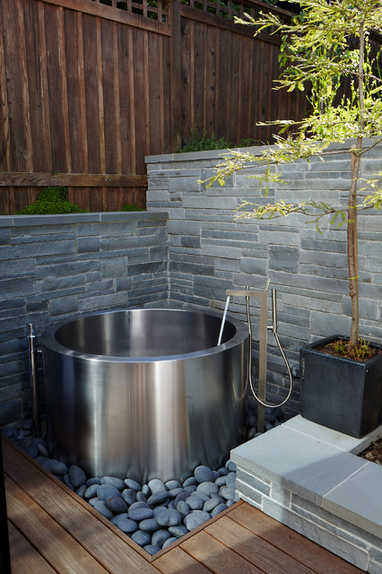 Bathtubs Lowes Landscape Contemporary with Black Planter Box Bluestone Wall Coping Japanese Soaking Tub