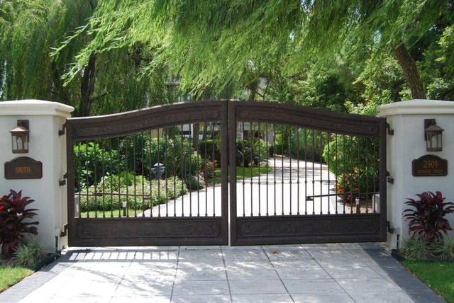 Battery Operated Garland Landscape Mediterranean with Column Concrete Driveway Concrete Pathway Double Entry Gate Double