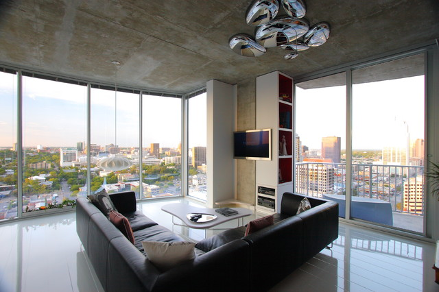 Battery Operated Garland Living Room Modern with Black Leather Bookcase City Coffee Table Concrete Laminate Pendant