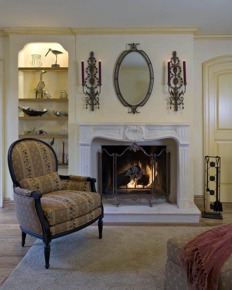 battery operated sconces Family Room Victorian with area rug bergre chair built in shelves