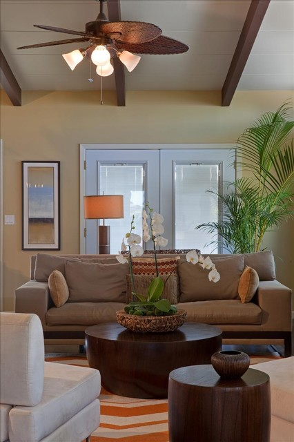 Battery Operated Table Lamps Living Room Tropical with Bright Ceiling Beams Ceiling Fan Chevron Dark Wood Houseplant