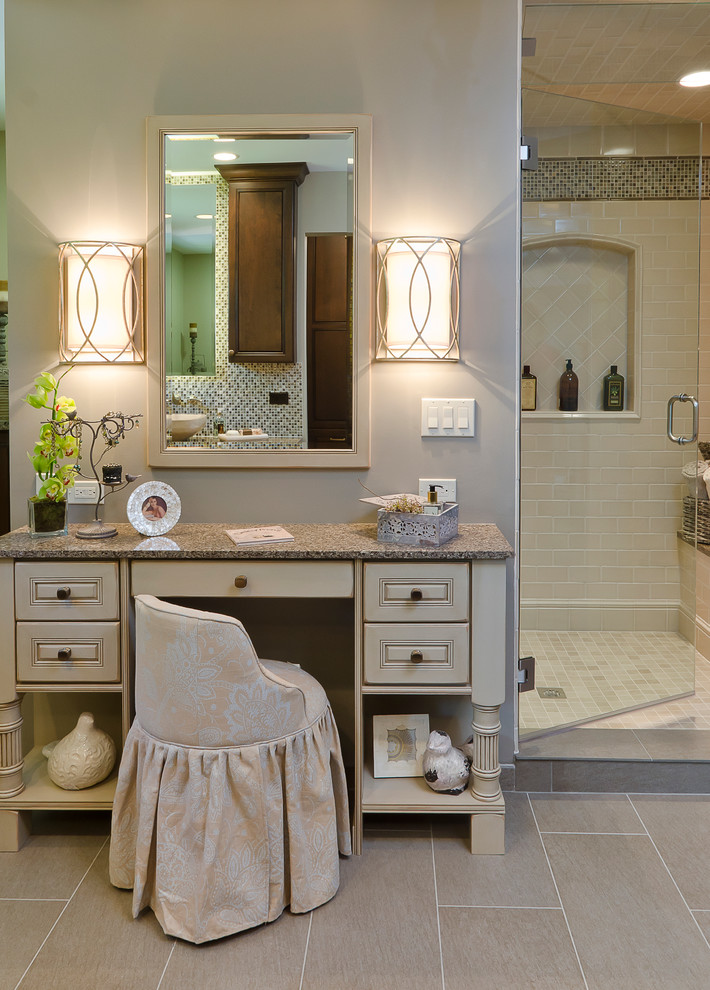 battery wall sconce Bathroom Traditional with bathroom mirror beige makeup chair beige makeup