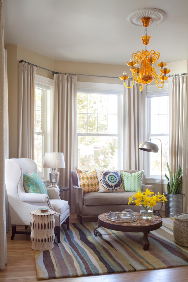 Bay Window Curtain Rod Family Room Contemporary with Accent Tables Bay Window Curtain Panels Floor