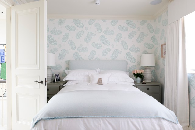Bed Bug Mattress Protectors Bedroom Transitional with Blue and White Paisley Wallpaper Chelsea Chic Contemporary Cozy