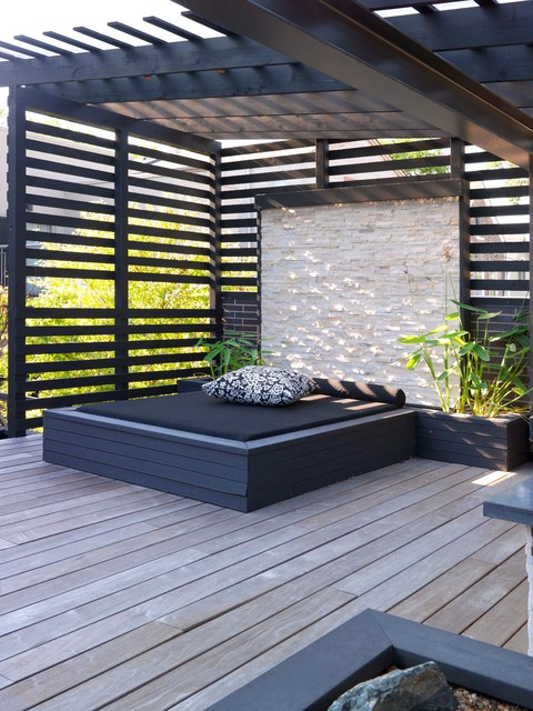 Bed Bug Mattress Protectors Deck Contemporary with Outdoor Lounge Planters Plants Stone Wall