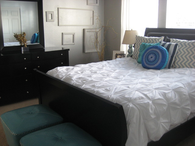Bedspread Sets Bedroom Transitional with Chest of Drawers Decorative Pillows Dresser Foot of The