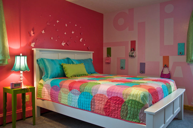 Bedspreads for Teens Kids Traditional with Accent Wall Bright Bright Colors Butterflies Colorful Custom Diy