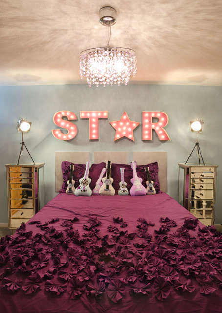 Bedspreads for Teens Kids Transitional with Antique Vanity Baby Blue Celebrity Crystal Chandelier Custom Pillows