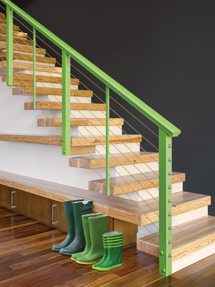 Benches with Backs Staircase Modern with Bold New Colors Designrail Aluminum Railings Express