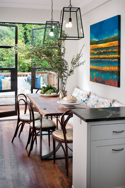 Bentwood Chair Kitchen Traditional with Artwork Banquette Bentwood Chairs Black and White Kitchen Breakfast