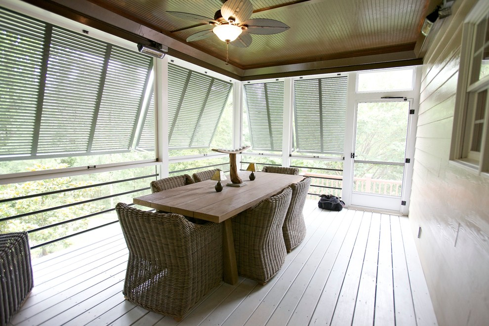 Bermuda Shutters Porch Contemporary with Bahama Shutters Beadboard Ceiling Ceiling Fan Driftwood