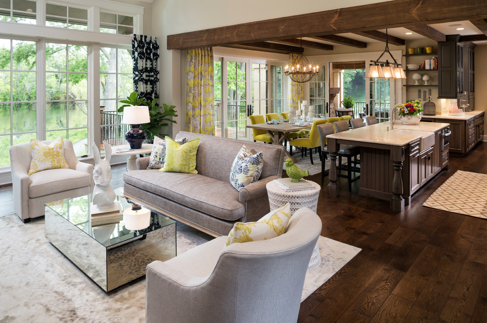 Best Vinyl Plank Flooring Living Room Traditional with Dark Wood Kitchen Eclectic Exposed Wood Beams
