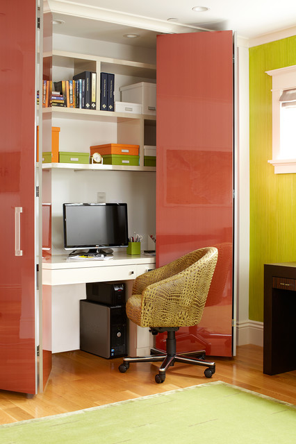 bi fold closet doors home office contemporary with animal print chair clean lines closet office closet bi fold doors home office