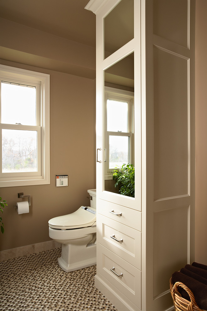 Bidet Toilet Combo Bathroom Transitional with Linen Cabinet Mirrored Cabinet Mosaic Stone Floor