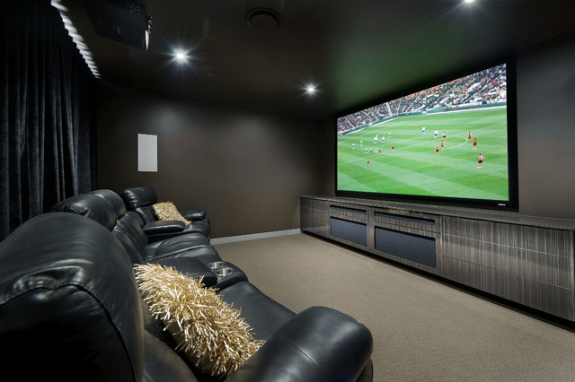 Big Man Recliner Home Theater Contemporary with Beige Carpet Big Screen Black Leather Chairs Black Recliners