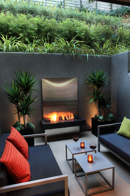 Bio Ethanol Fireplace Patio Contemporary With Black Sofa Cube Accent Table  Cube Coffee Table Cube