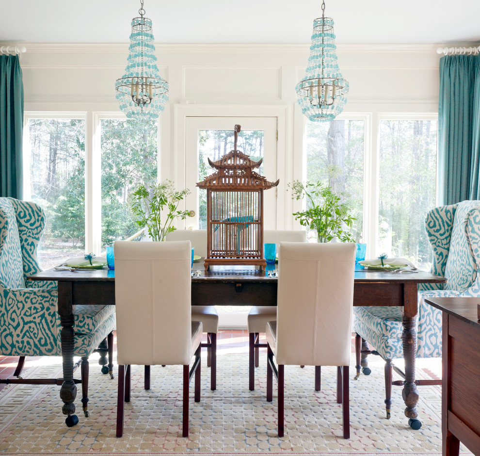 Birdcage Chandelier Dining Room Eclectic with Arteriors Birdcage Chandeliers Chinoiserie Farm Table Mixed
