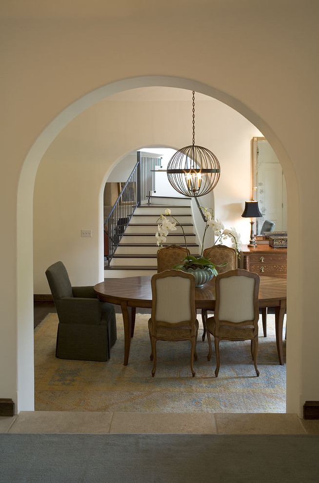 Birdcage Chandelier Dining Room Traditional with Arched Doorway Area Rug Dining Area Louis
