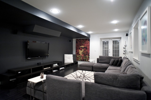 Black Out Blinds Home Theater Contemporary with Accent Wall Black and White Black Floors Black Wall