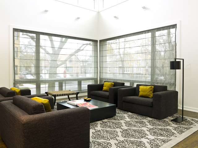 Black Out Blinds Living Room Modern with Bench Big Blinds Black and White Black Floor Lamp