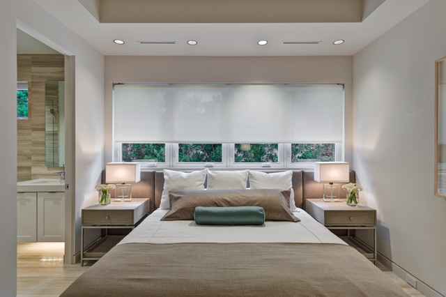 Blackout Roller Shades Bedroom Contemporary with Bed Pillows Bedside Table Ceiling Lighting Neutral Colors Nightstand