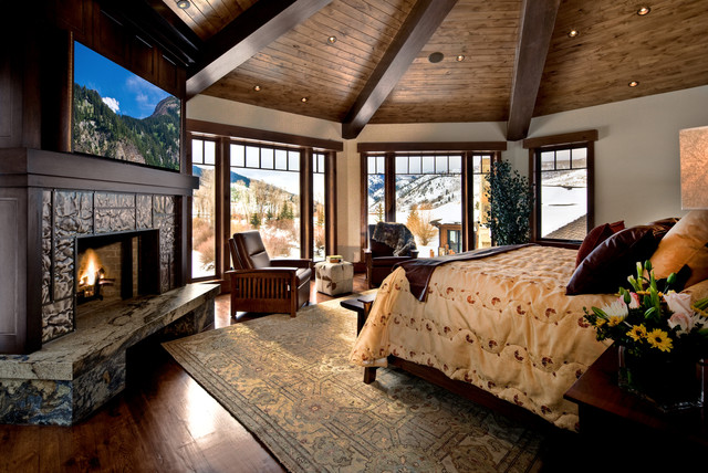 blackout roller shades Bedroom Traditional with cabin ceiling lighting corner fireplace exposed beams fireplace hearth