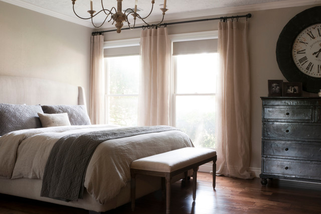 Blackout Roller Shades Bedroom Transitional with Beige Curtain Panel Beige Drapes Beige Walls Dark Gray