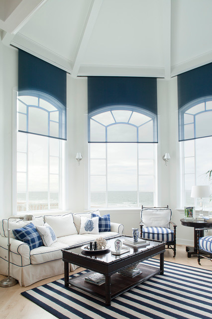 Blackout Roller Shades Family Room Contemporary with Arched Windows Area Rug Blue Dark Stained Wood Floor