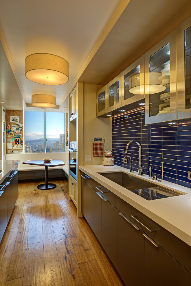 Blanco Sinks Kitchen Contemporary with Banquette Seating Blue Tiles Breakfast Area Dining