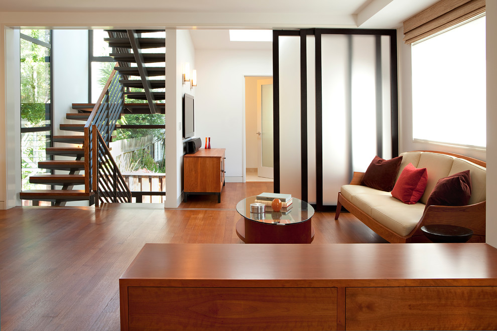Blinds for Sliding Glass Door Living Room Contemporary with Bookcase Cherry Wood Cabinet Cherry Wood Floor