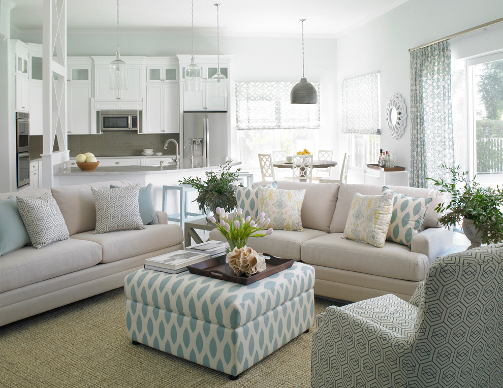 Blinds Galore Living Room Transitional with Armchair Blue Accents Dining Area Kitchen Mixed