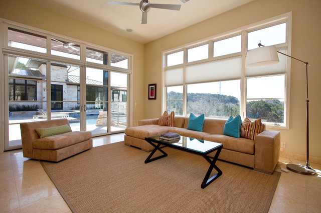 Blinds Lowes Family Room Contemporary with Area Rug Ceiling Fan Decorative Pillows Floor Lamp Floor