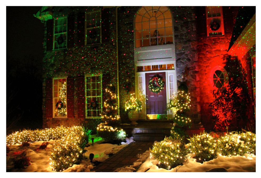 blisslights Spaces Eclectic with accent lights backyard lighting blue lights Christmas