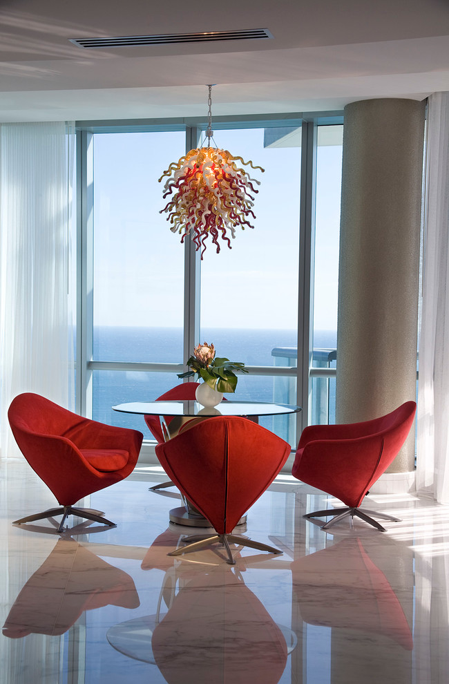 Blown Glass Chandelier Family Room Contemporary with Dining Chairs Fabric Chairs Glass Wall Hand