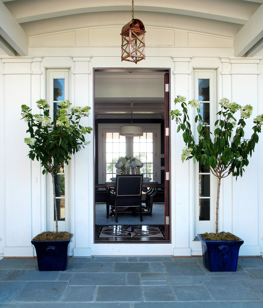 Bluestone Pavers Entry Beach with Container Plants Floor Medallion Front Door Lantern