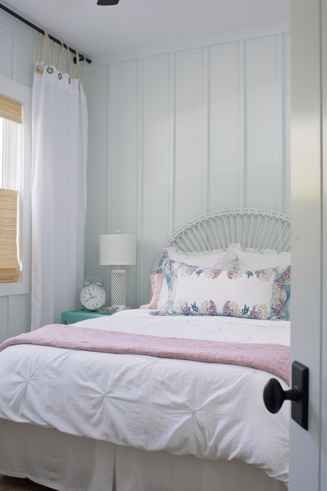 Board and Batten Vinyl Siding Bedroom Shabby Chic with Alarm Clock Board and Batten Grommet Curtain