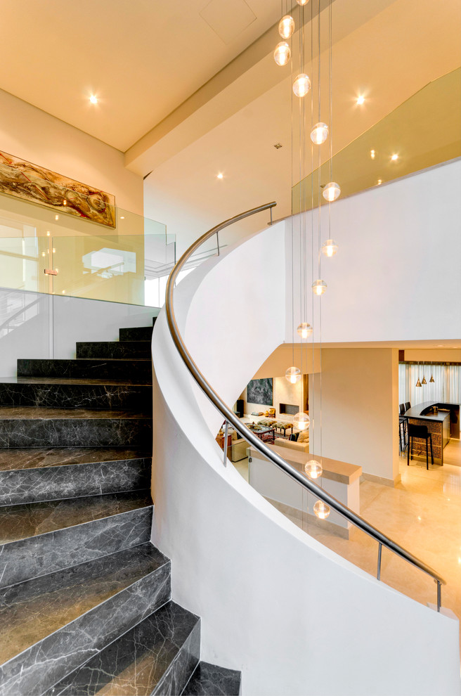 Bocci Lighting Staircase Contemporary with Balcony Bocci Bocci Light Fixture Curved Staircase