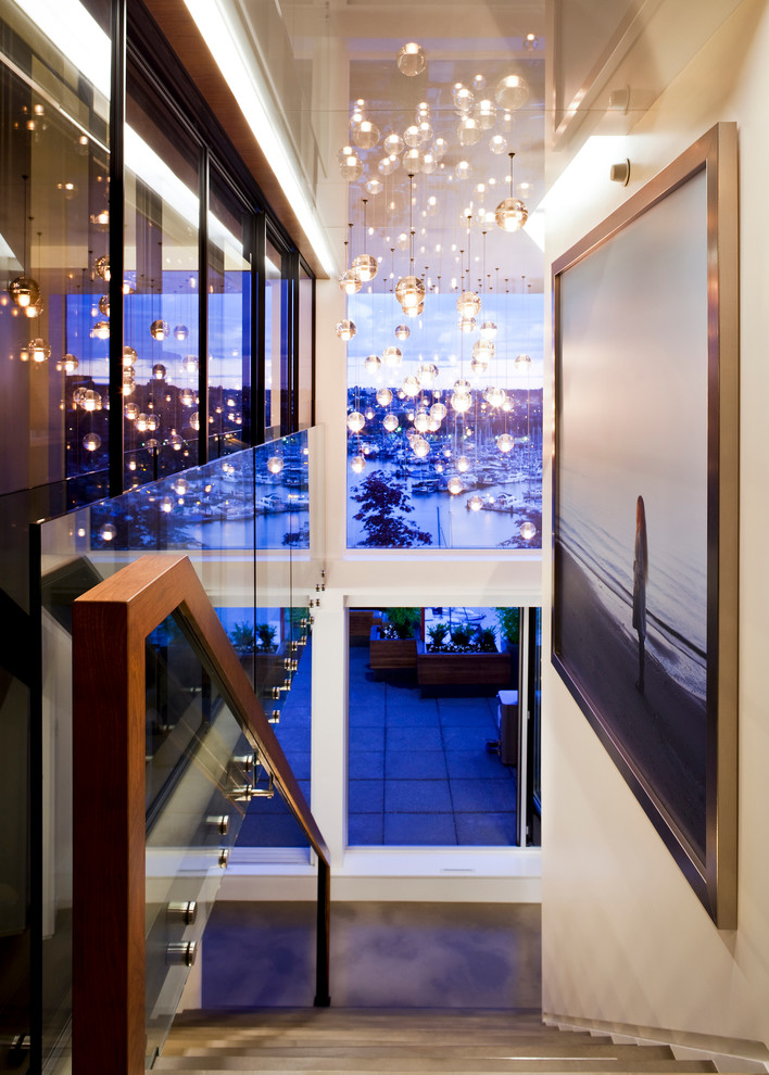 Bocci Lighting Staircase Contemporary with Exquisite Detail Glass Globe Lights Hallway High