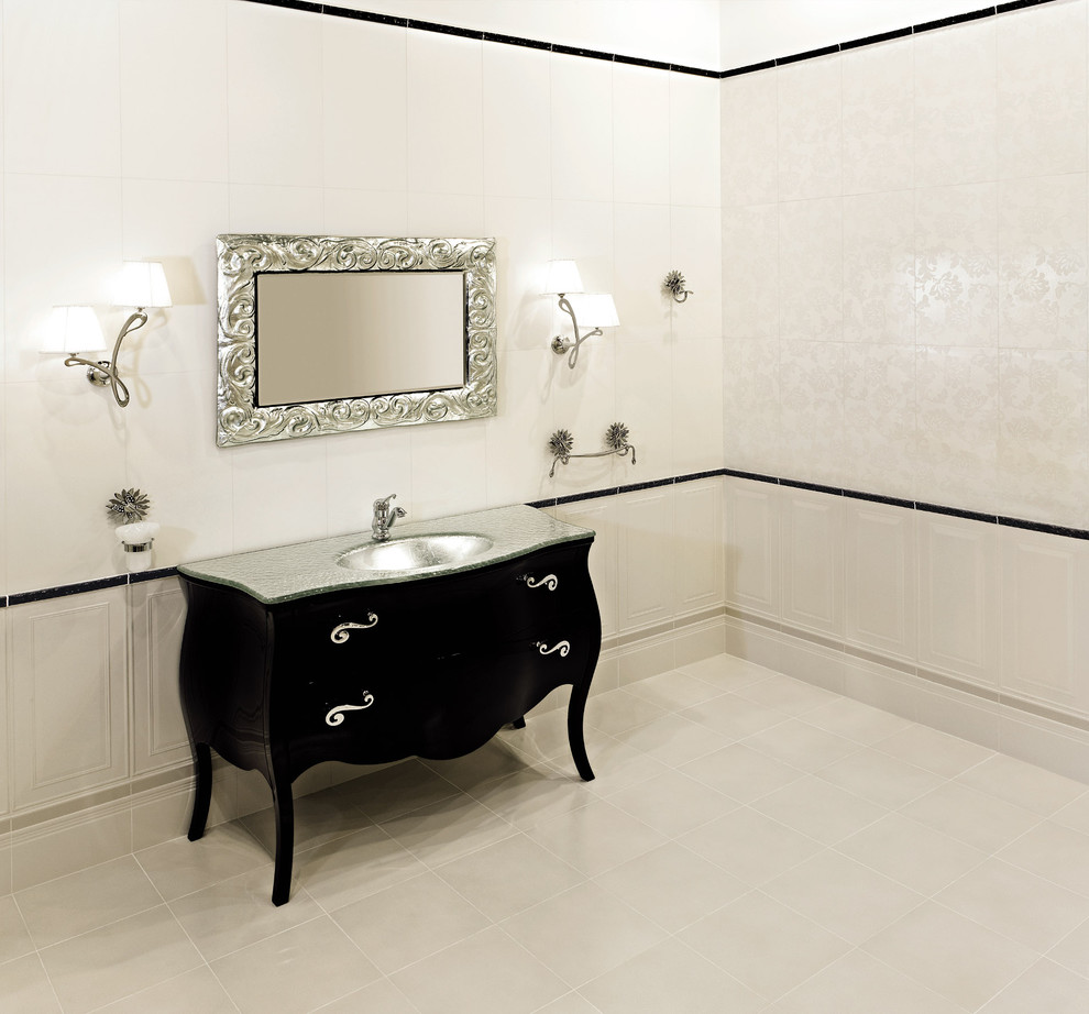 Bombay Chest Bathroom Eclectic with Black and White Black Vanity Curved Vanity3