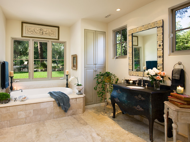 Bombay Chests Bathroom Mediterranean with Bathroom Mirror Bathroom Storage Built in Storage Ceiling Lighting1