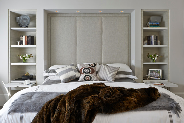 bookcase headboard queen Bedroom Contemporary with apartment bedding built in custom nightstand display shelves faux