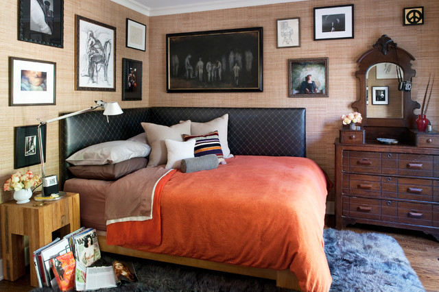 Bookcase Headboard Queen Bedroom Eclectic with Bed Pillows Bedside Table Chest of Drawers Corner Bed