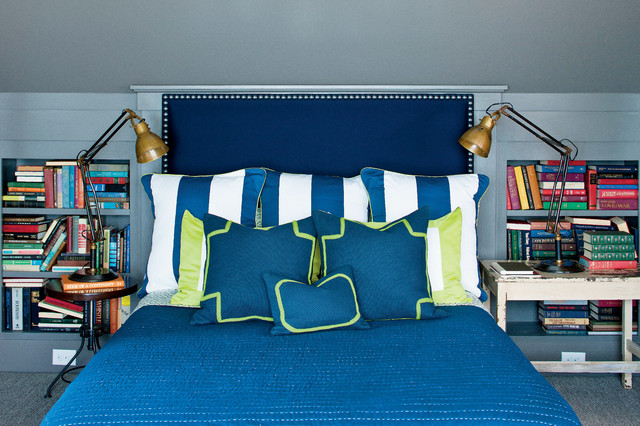 Bookcase Headboard Queen Bedroom Farmhouse with Bedding Blue Blue Bedding Built in Bookshelf Cottage Farmhouse Renovation