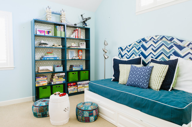 Bookcase Headboard Queen Kids Contemporary with Analogous Color Scheme Architectural Models Blue and Green Color