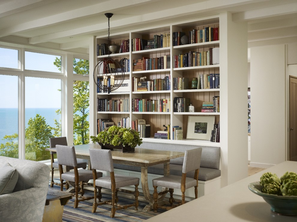 Bookcase Room Dividers Dining Room Transitional with Area Rug Bench Seat Built in Bookshelves