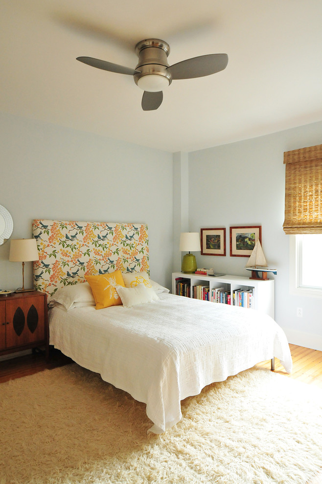 Bookshelf Headboard Bedroom Eclectic with Ceiling Fan with Light Floral Headboard Green