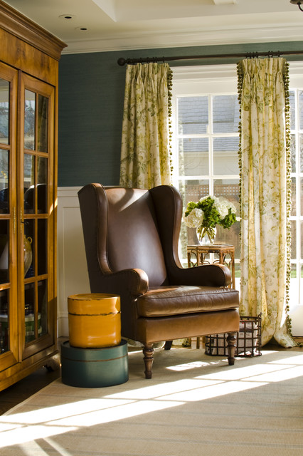 bradington young recliners Family Room Traditional with cabinet cottage curtain grass cloth green green paint leather